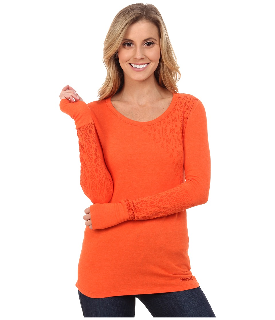 Marmot - Kourtney Long Sleeve Top (Orange Coral) Women's Long Sleeve Pullover