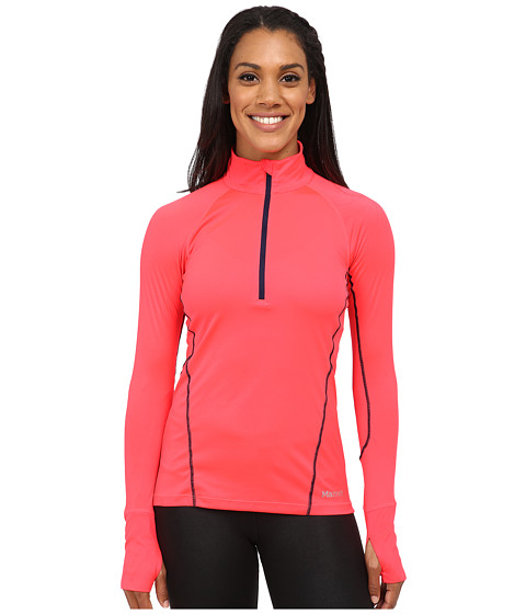 Marmot - Interval Half-Zip Long Sleeve (Bright Pink/Arctic Navy) Women