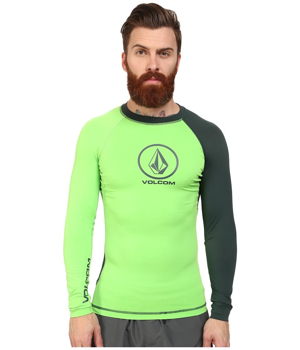 Volcom - Colorblock L/S Rashguard (Electric Green) Men's Swimwear