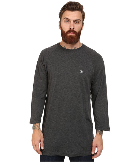 Volcom - Heather 3/4 Raglan (Heather Black) Men's Long Sleeve Pullover