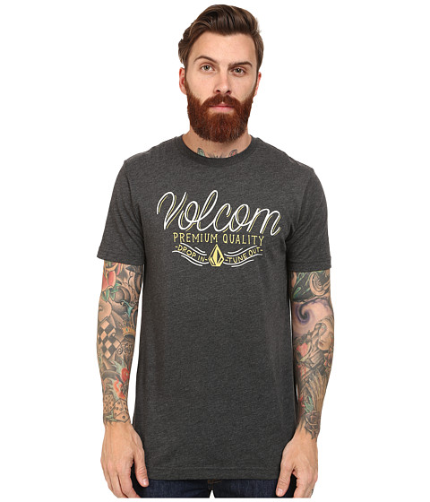 Volcom - Quick Script Tee (Heather Black) Men's T Shirt