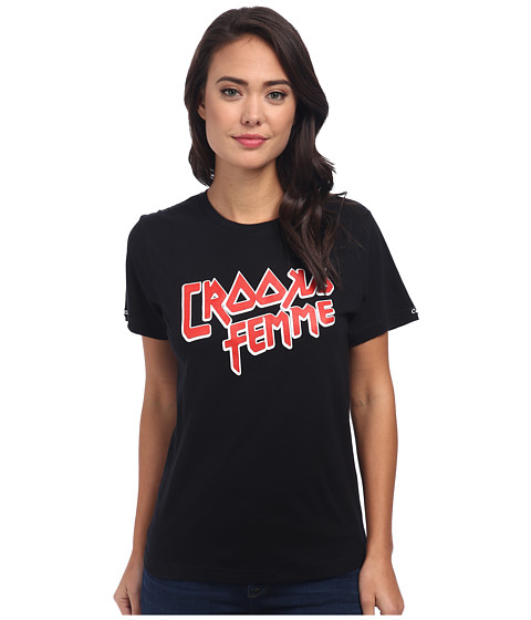 Crooks & Castles - Knit Crew T-Shirt - Crooks Femme (Black) Women's Short Sleeve Pullover