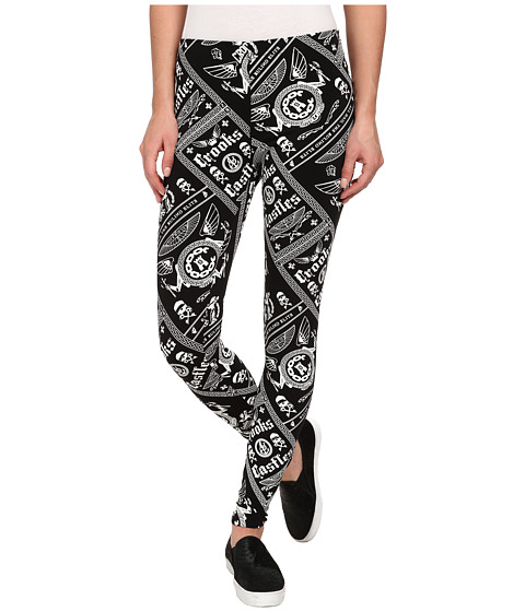 Crooks & Castles - Ladies Knit Leggings - Black Order (Black/White) Women's Casual Pants
