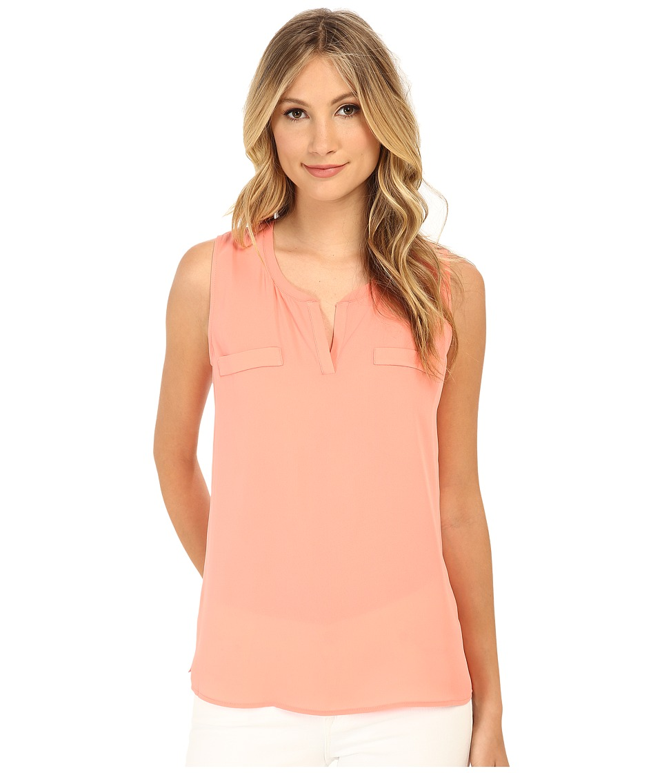 Christin Michaels - Sleeveless Split Neck Top w/ Besom Pockets (Coral) Women's Sleeveless plus size,  plus size fashion plus size appare
