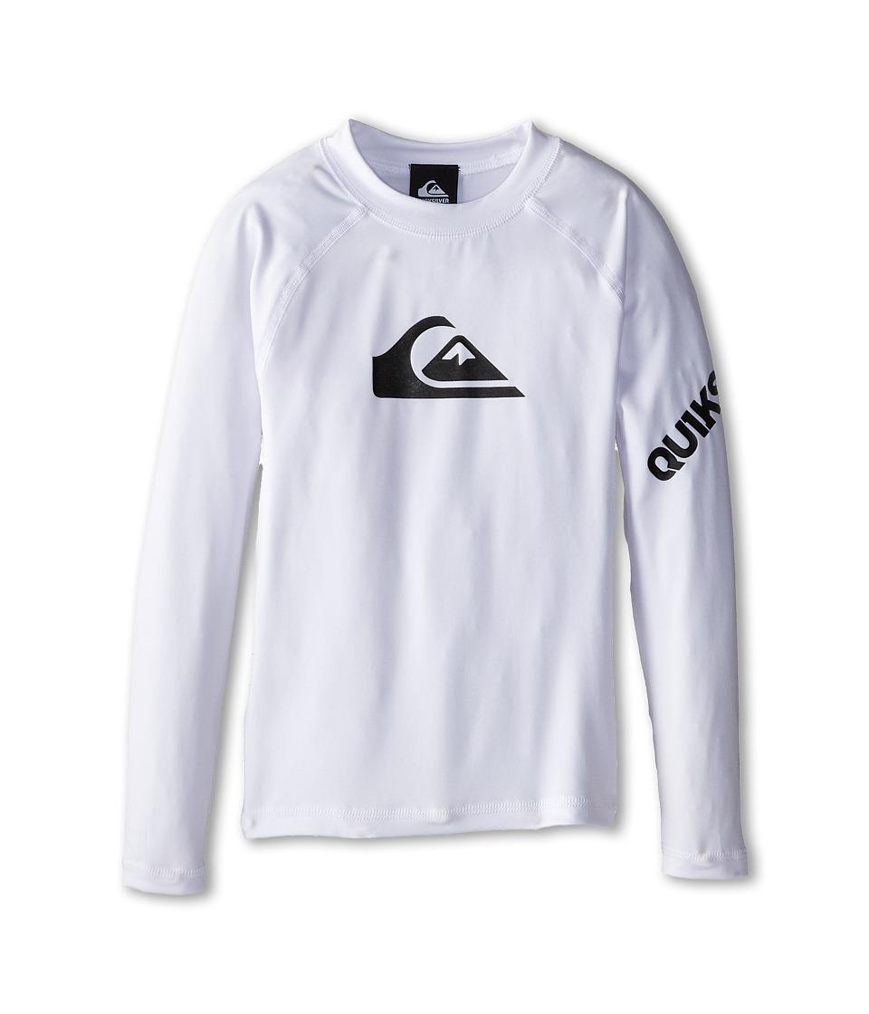 Quiksilver Kids - All Time Long Sleeve Surfshirt Rashguard (Big Kids) (White) Boy's Swimwear