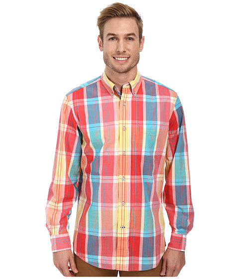 Nautica - Long Sleeve Large Plaid (Lagoon Red) Men