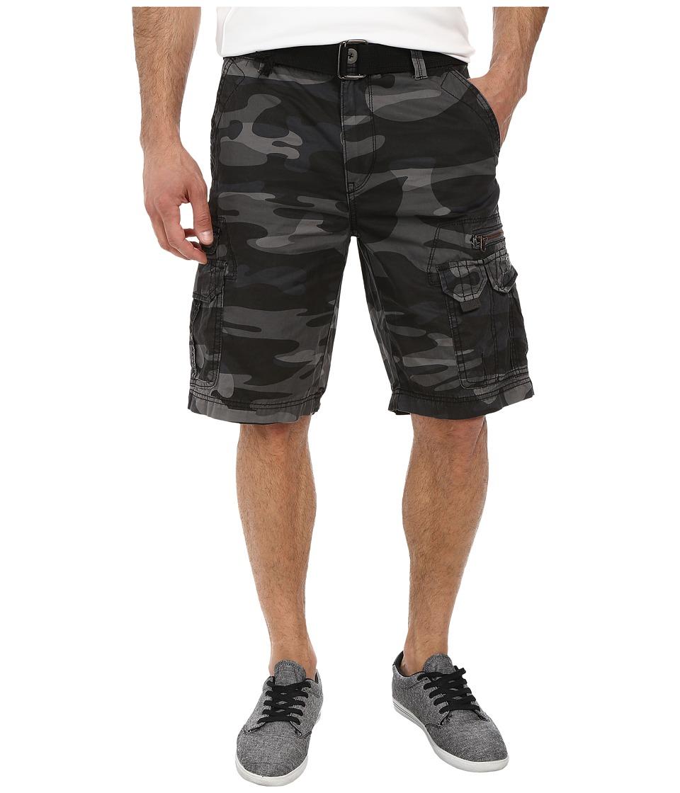 UNIONBAY - Bailey Camo Belted Cargo Short (Coal Camo) Men's Shorts