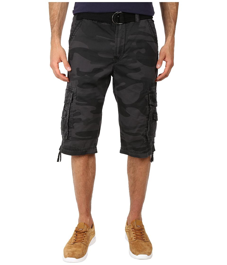 UNIONBAY - Cordova Camo Belted Cargo Short (Black Camo) Men's Shorts