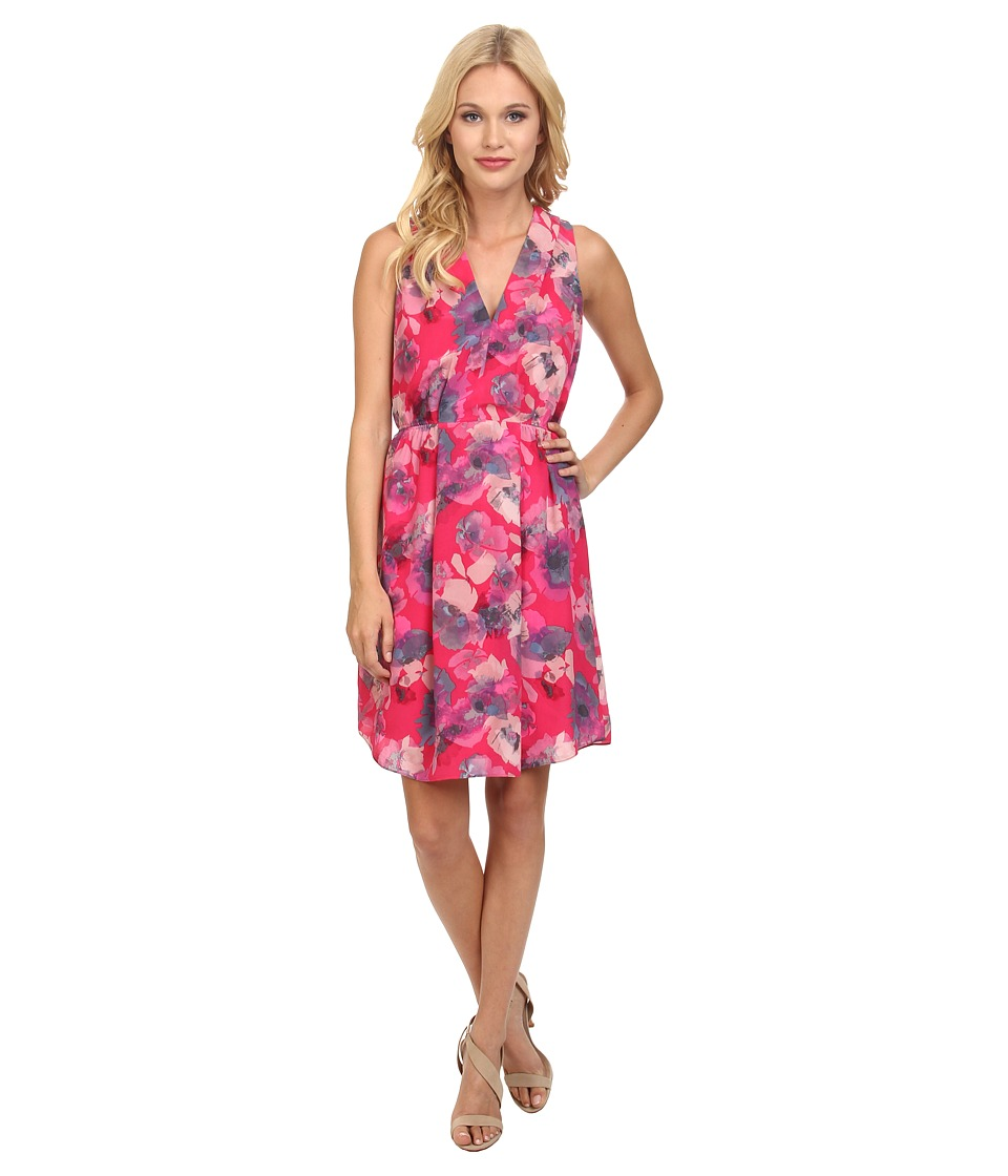 Rebecca Taylor - Sleeveless Flowerpress Dress (Fuchsia) Women's Dress