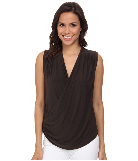 NIC+ZOE - Feel Good Wrap Top (Dark Truffle) Women