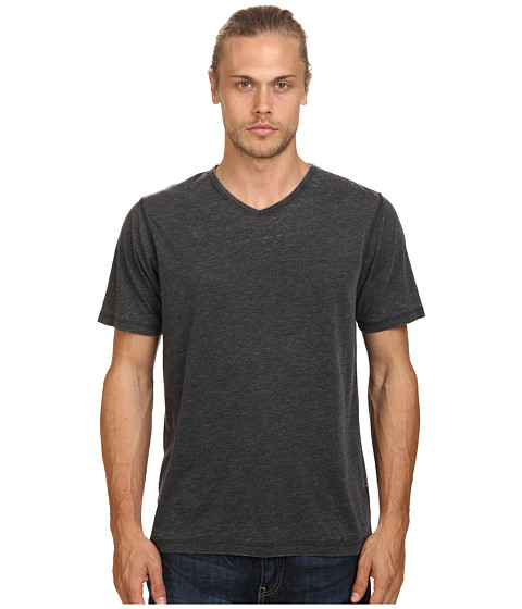 UNIONBAY - Sherman Burnout V-Neck Tee (Charcoal Heather) Men's Short Sleeve Pullover