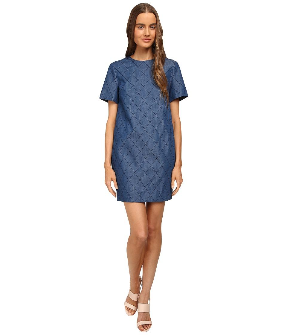 Kate Spade New York - Quilted Chambray Sheath Dress (Darkest Blue) Women's Dress