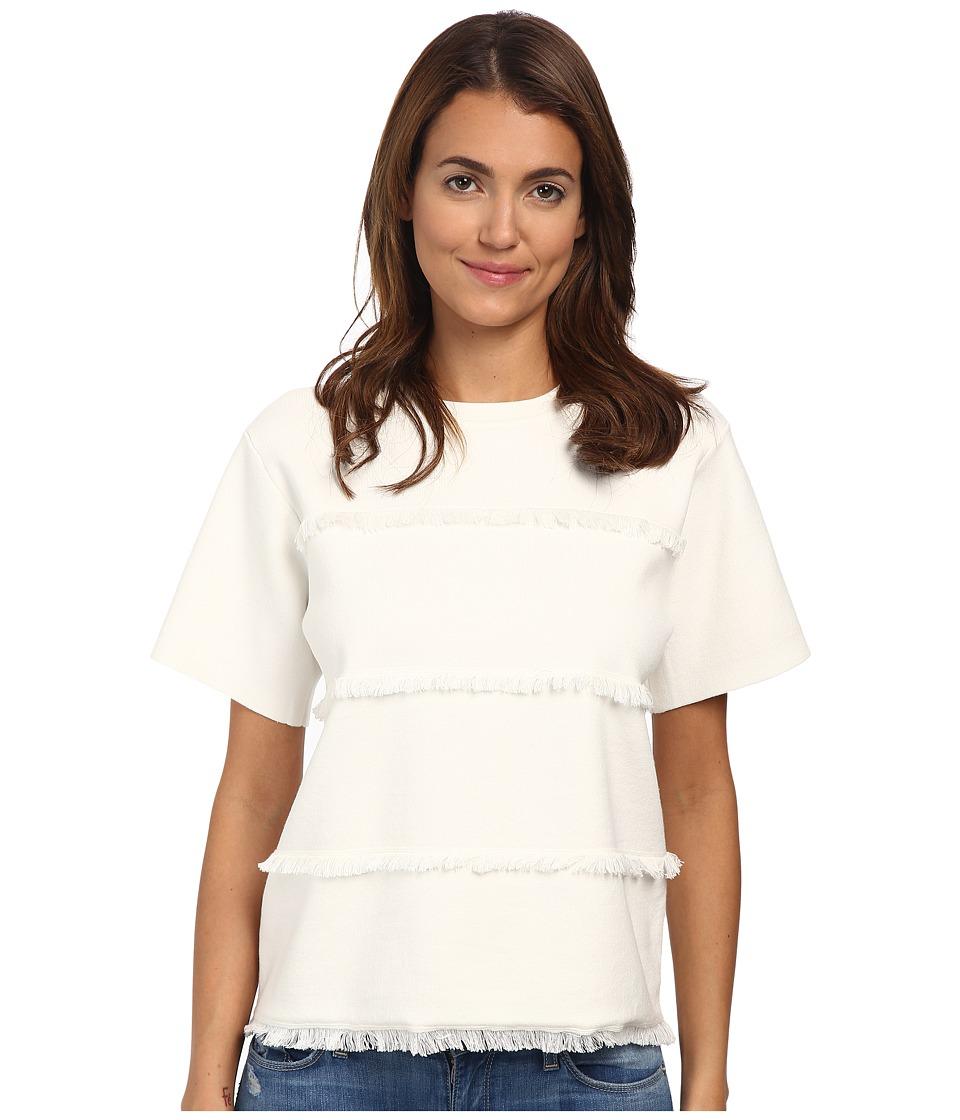 Kate Spade New York - Fringe Short Sleeve Sweater (Fresh White) Women