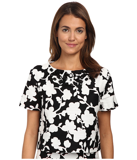 Kate Spade New York - Graphic Floral Crop Top (Black) Women's Short Sleeve Pullover