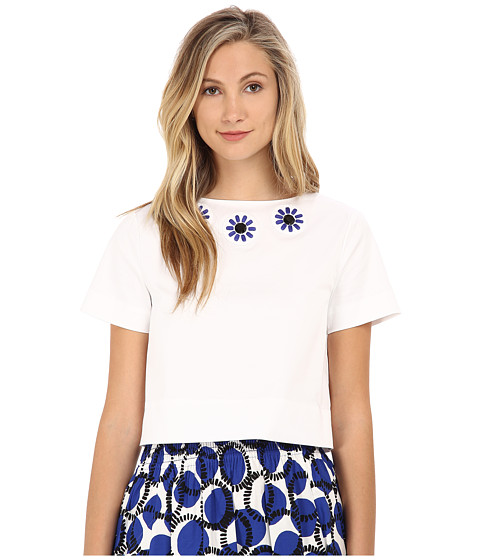 Kate Spade New York - Embellished Crop Top (Fresh White) Women's Clothing