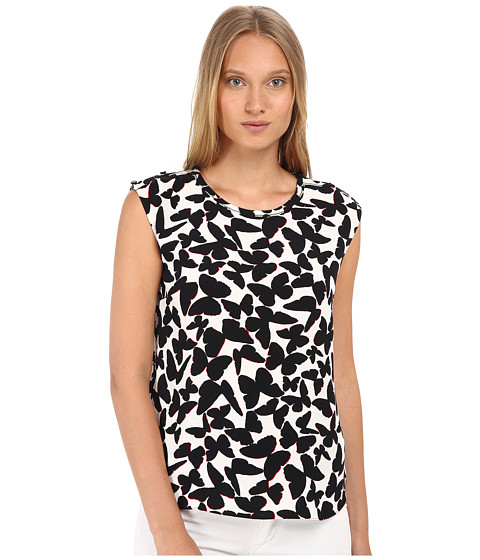 Kate Spade New York - Butterfly Cap Sleeve Top (Black) Women's Clothing
