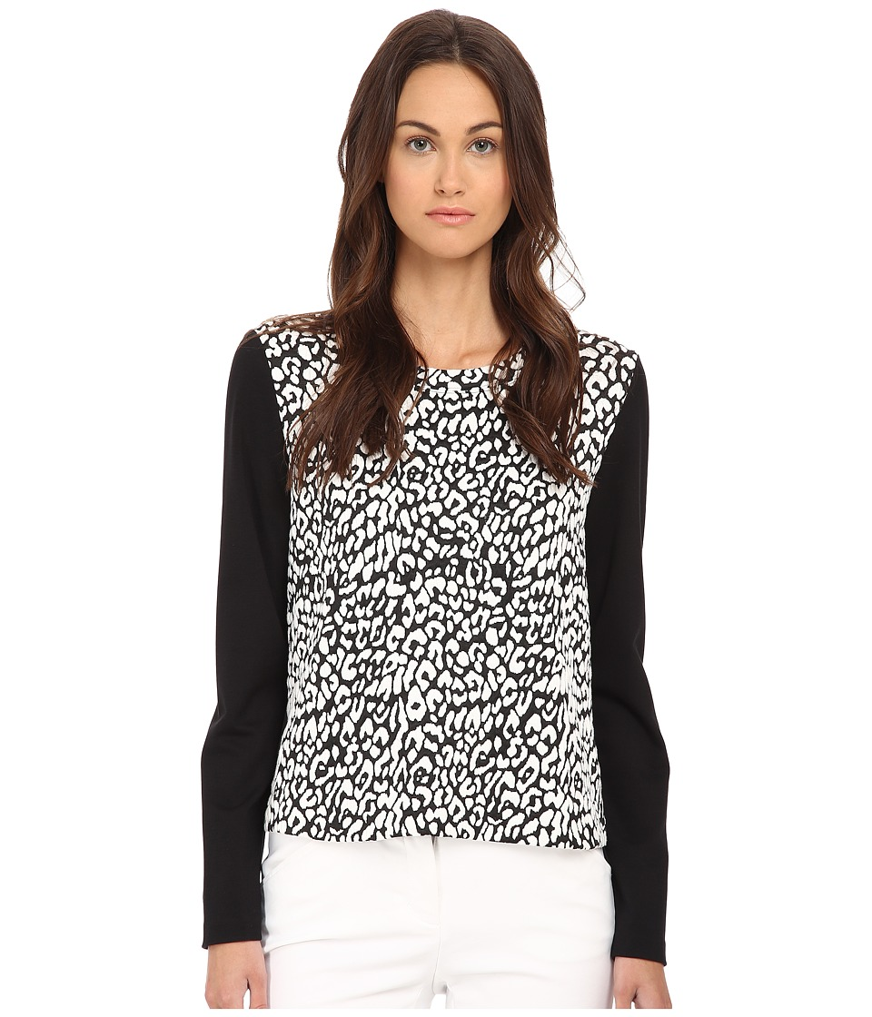 Kate Spade New York - Leopard Jacquard Panel Sweatshirt (Cream/Black) Women's Sweatshirt