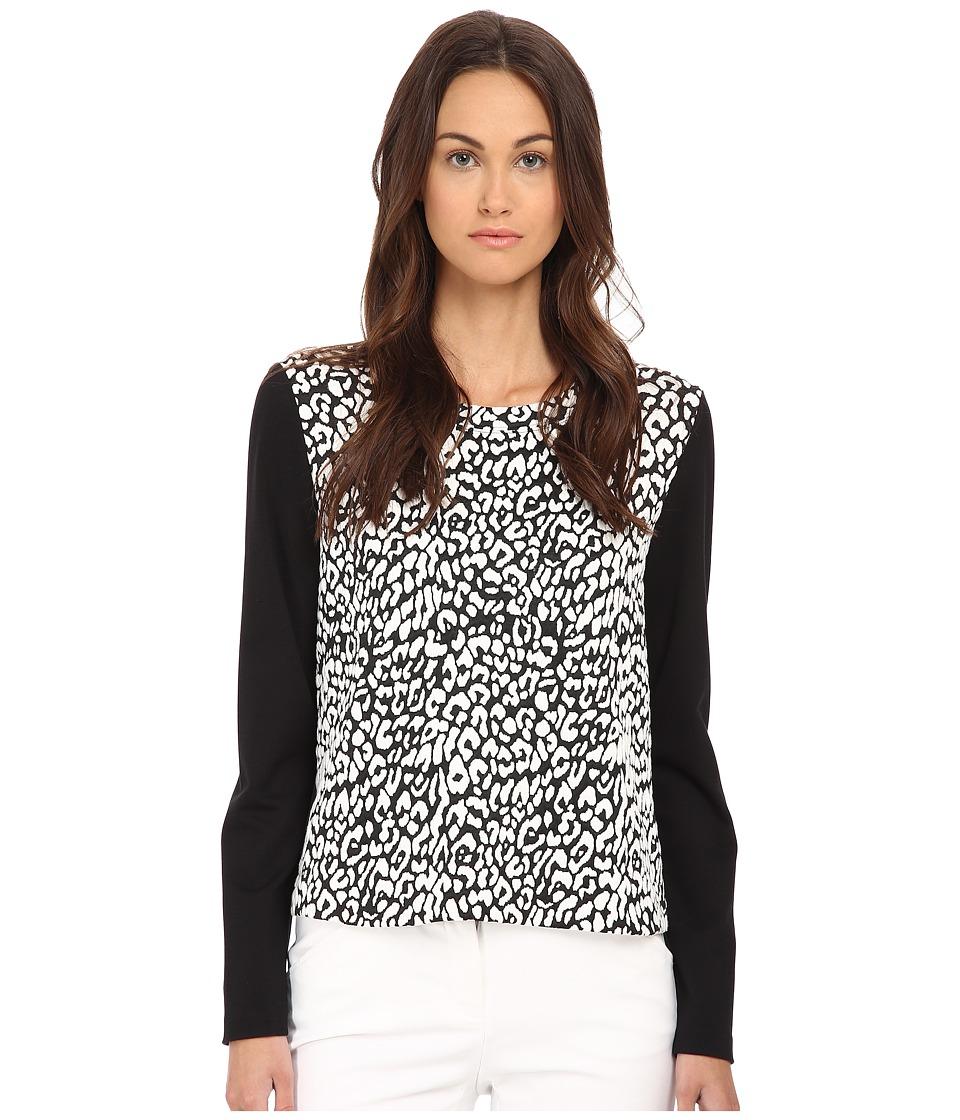 Kate Spade New York - Leopard Jacquard Panel Sweatshirt (Cream/Black) Women's Sweatshirt