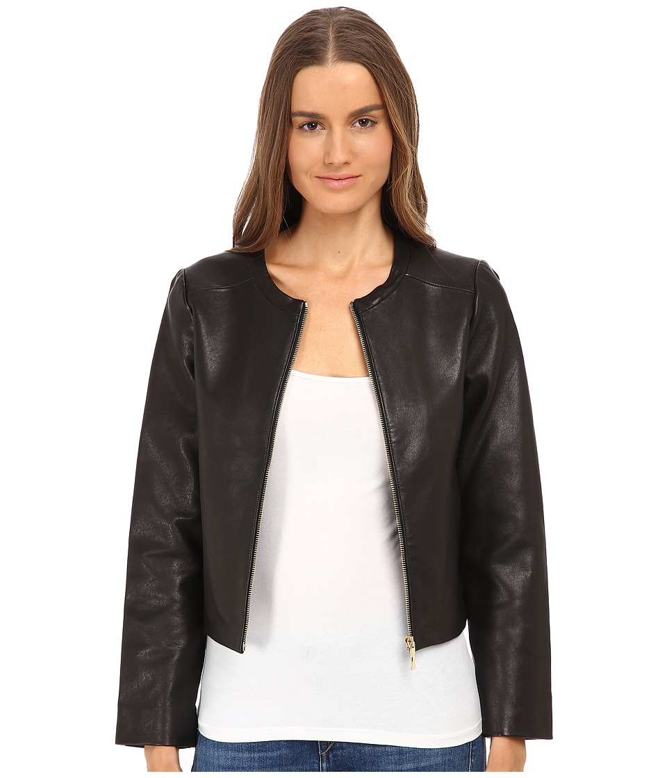 Kate Spade New York - Zip-Up Leather Jacket (Black) Women's Coat