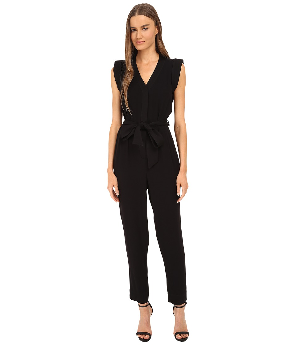 Kate Spade New York - Satin Crepe Jumpsuit (Black) Women's Jumpsuit & Rompers One Piece