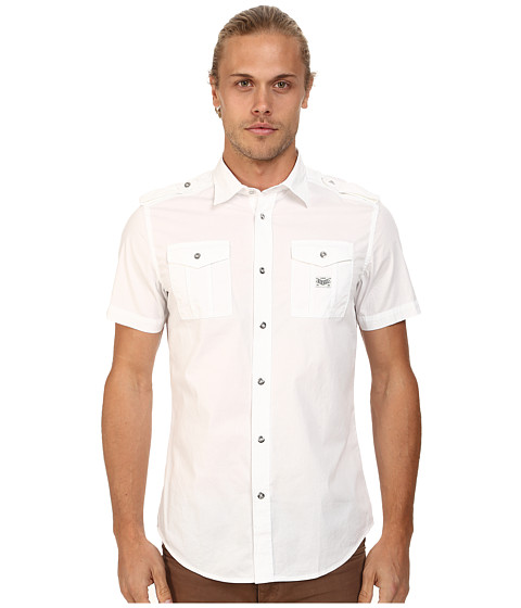 Diesel - S-Koir-Short Shirt (White) Men's Short Sleeve Button Up