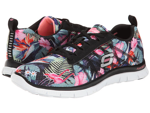 SKECHERS - Flex Appeal - Floral Bloom (Black Multi) Women's Lace up casual Shoes