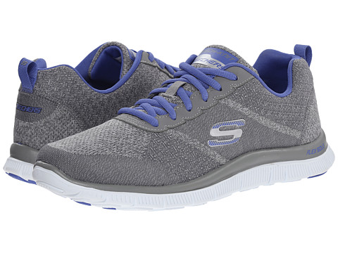 SKECHERS - Flex Appeal (Gray Purple) Women's Lace up casual Shoes