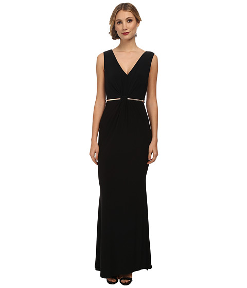 Laundry by Shelli Segal - Twist Front Gown with Metal Belt (Black) Women's Dress
