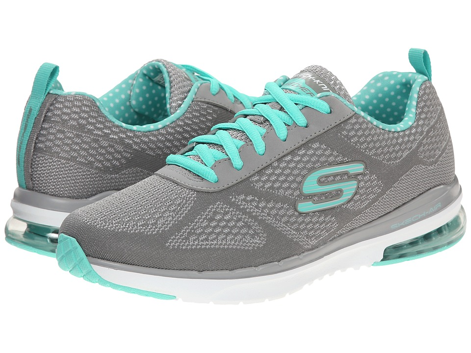 SKECHERS - Aeris (Gray Turquoise) Women's Lace up casual Shoes