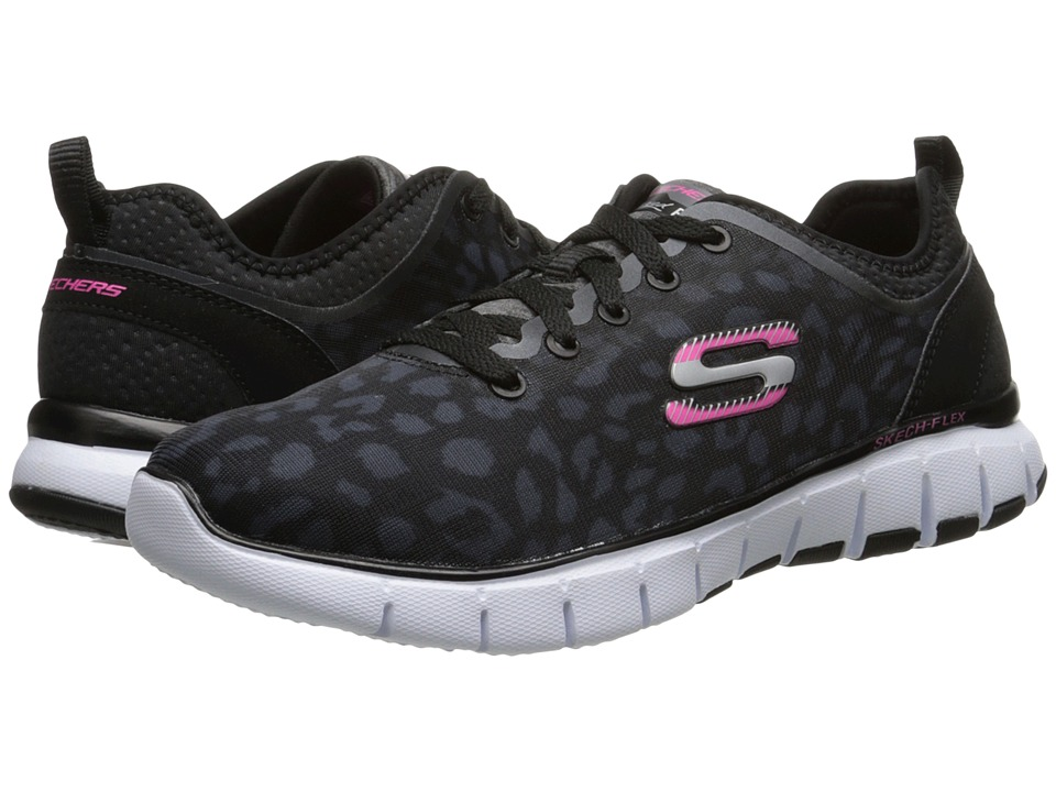 SKECHERS - Skech-Flex (Black White) Women's Lace up casual Shoes
