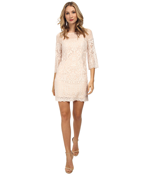 Laundry by Shelli Segal - Windsor Embroidered Mesh A-Line (Vintage Blush) Women's Dress