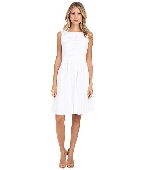 Donna Morgan - Embroidered Eyelet Fit and Flare with Cutout Back Detail (White) Women's Dress