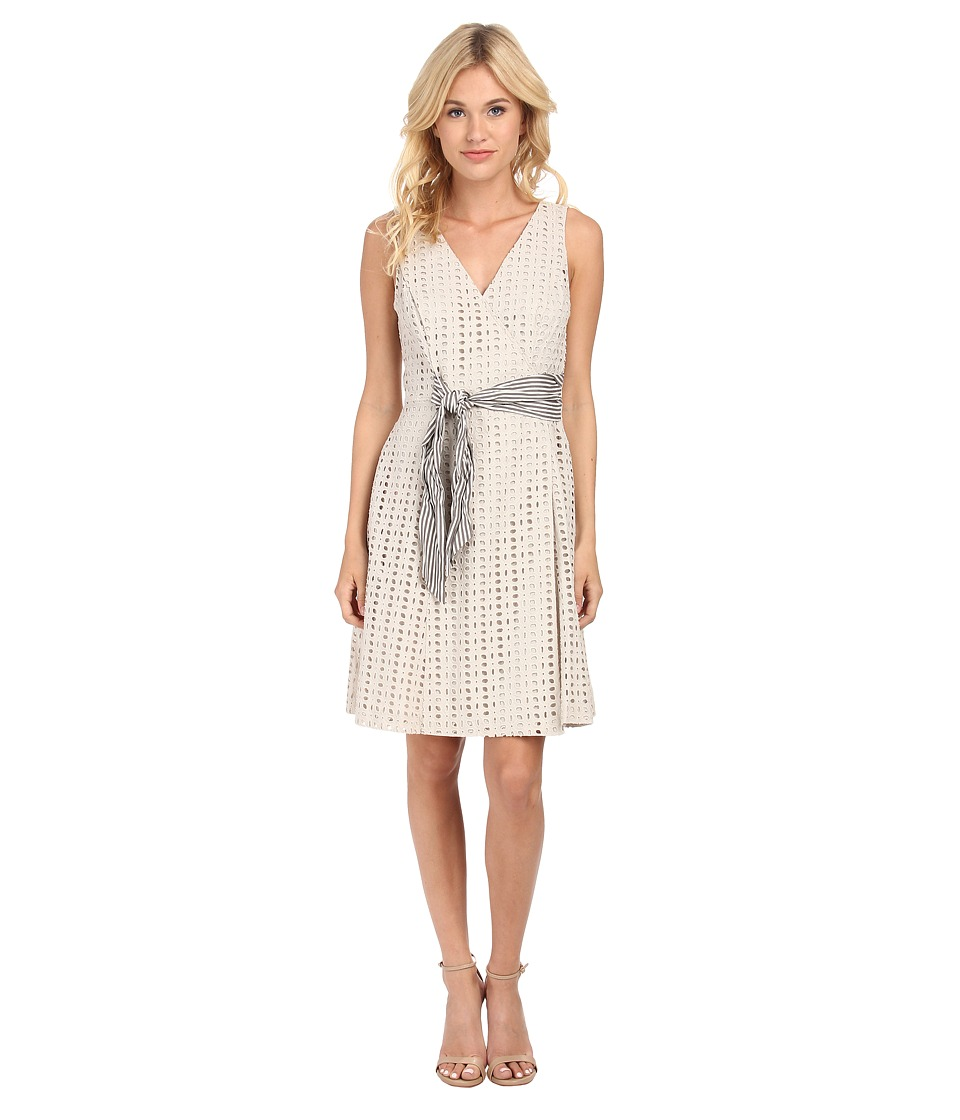 Donna Morgan - Cotton Eyelet Wrap Dress with Striped Belt (Light Grey) Women
