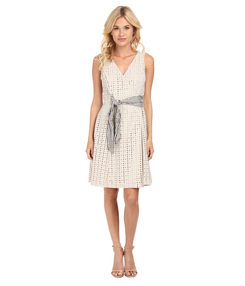 Donna Morgan - Cotton Eyelet Wrap Dress with Striped Belt (Light Grey) Women's Dress