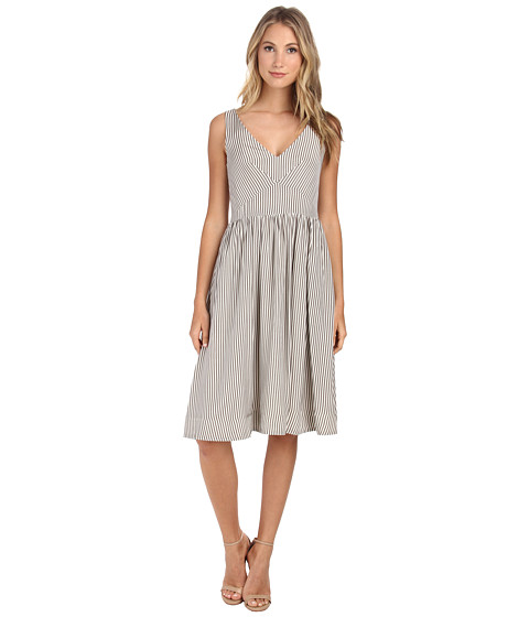 Donna Morgan - Sleeveless Striped Cotton Tea Length (Grey/Ecru) Women