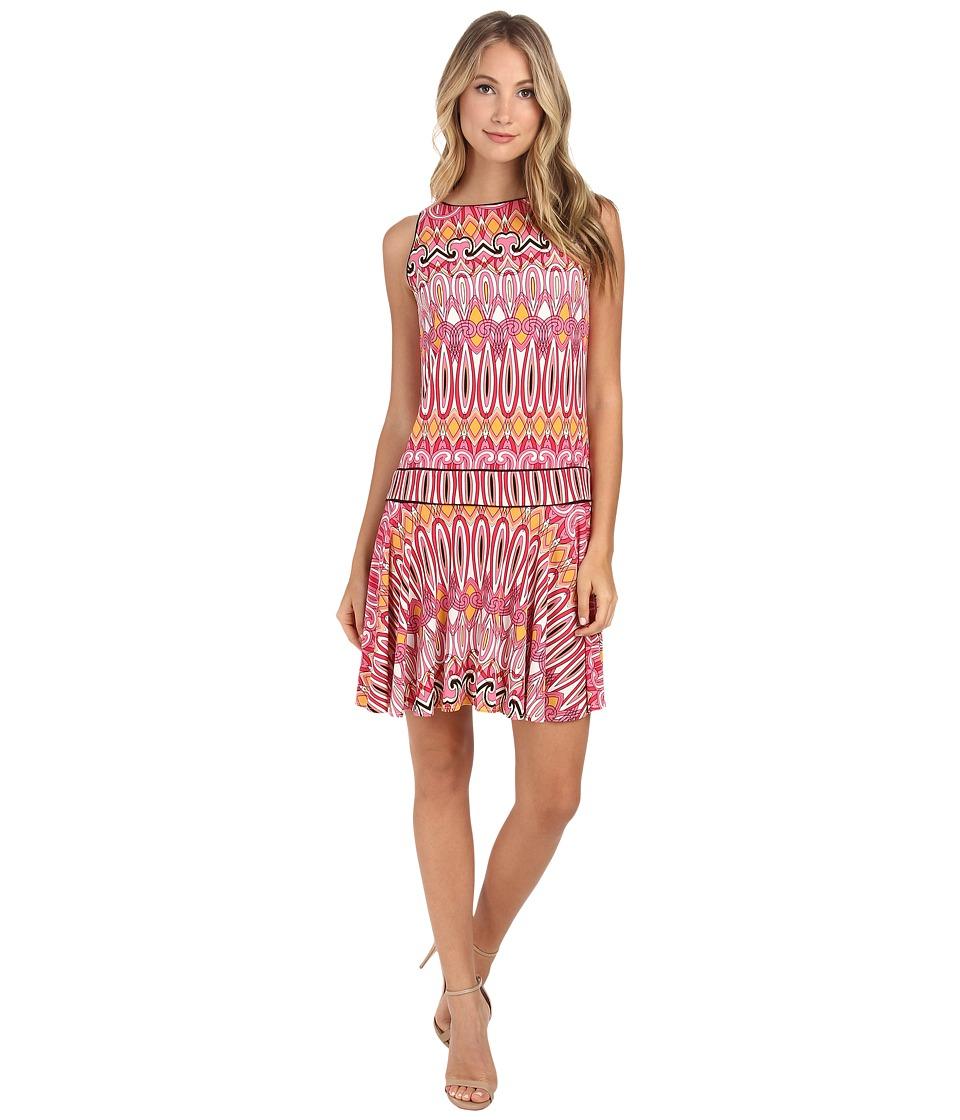 Donna Morgan - Sleeveless Jersey Drop Waist (Geranium Multi) Women's Dress