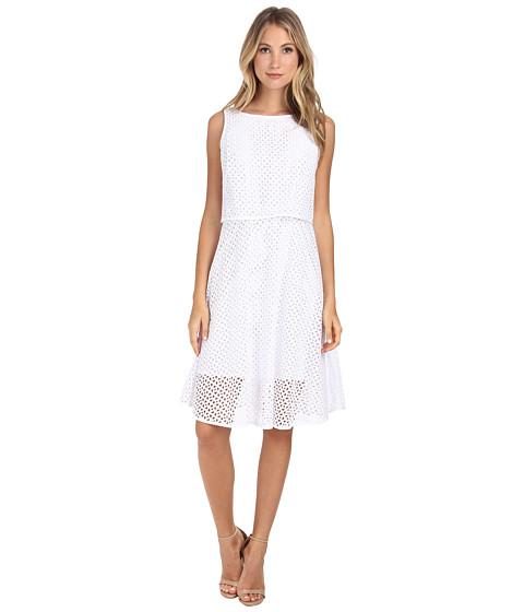 Donna Morgan - Eyelet Popover (White) Women's Dress