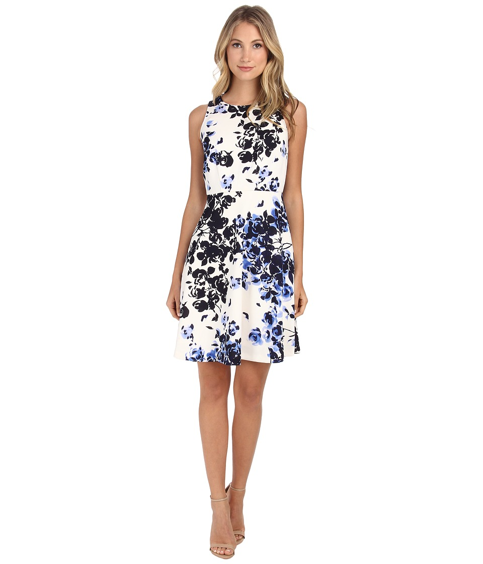 Donna Morgan - Sleeveless Scuba Floral Print (Iceberg Multi) Women's Dress