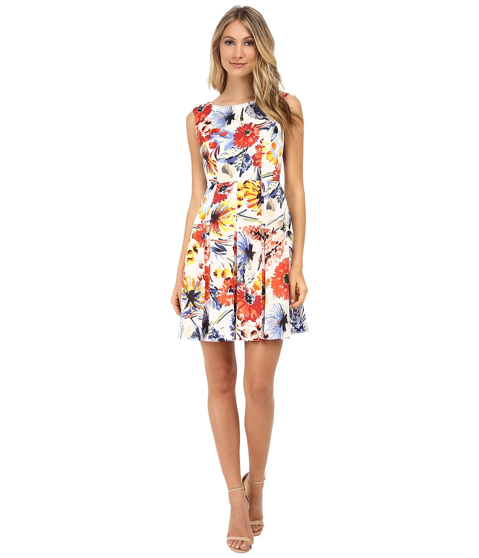 Donna Morgan - Sleeveless Floral Print Twill Fit and Flare (Red Multi) Women's Dress