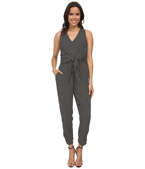 Donna Morgan - Front Tie Jumpsuit (Black/Whitecap Grey) Women's Dress