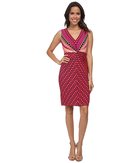 Donna Morgan - Sleeveless Knot Front Jersey Bodycon (Geranium Multi) Women