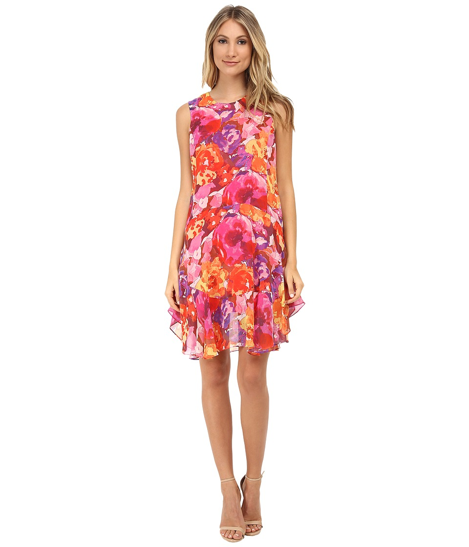 Donna Morgan - Sleeveless Chiffon Floral Print Shift (Pink Multi) Women's Dress