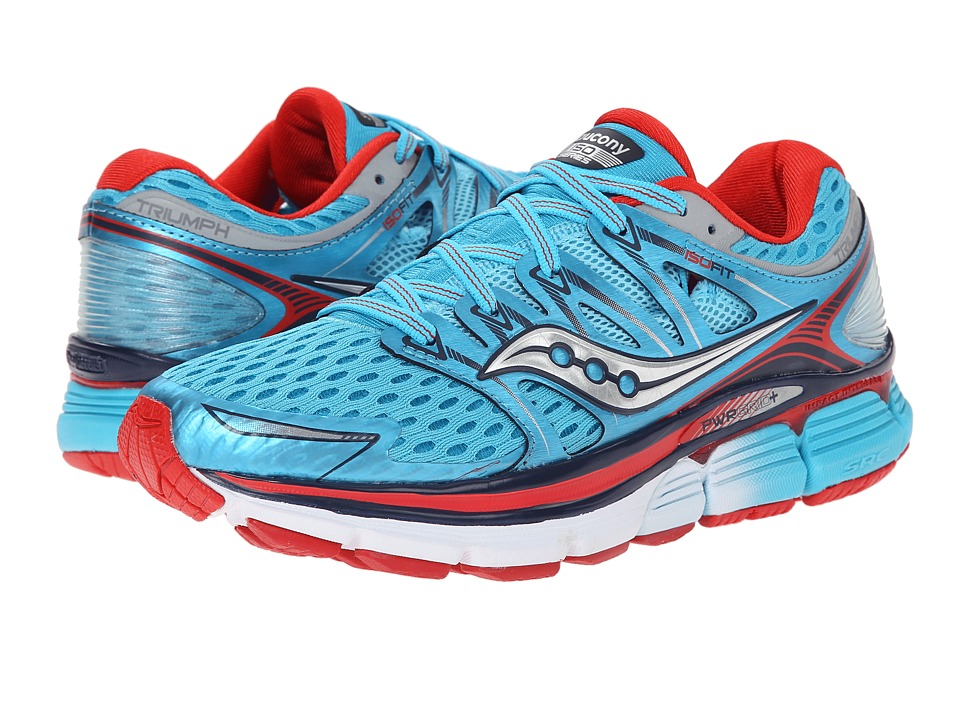 Saucony - Triumph ISO (Blue/Red) Women's Running Shoes