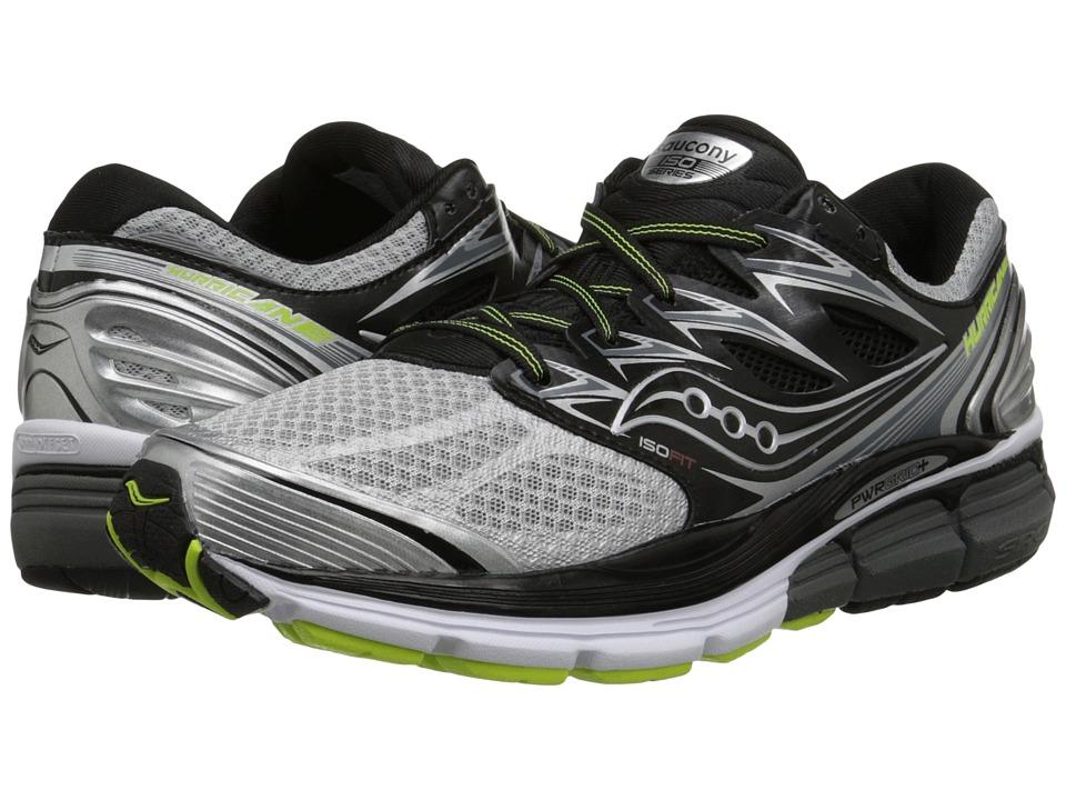 Saucony - Hurricane ISO (Silver/Black/Citron) Men's Running Shoes