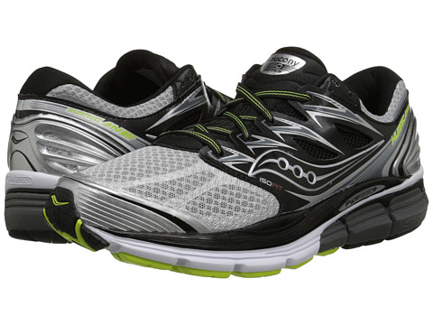 Saucony - Hurricane ISO (Silver/Black/Citron) Men's Running Shoes