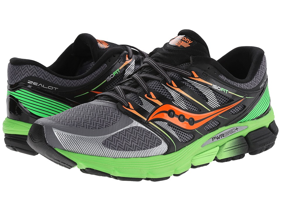 Saucony - Zealot ISO (Grey/Slime/Orange) Men's Running Shoes