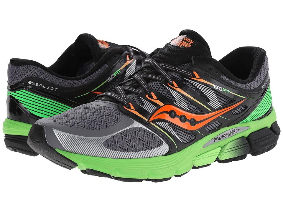Saucony - Zealot ISO (Grey/Slime/Orange) Men's Running Shoes