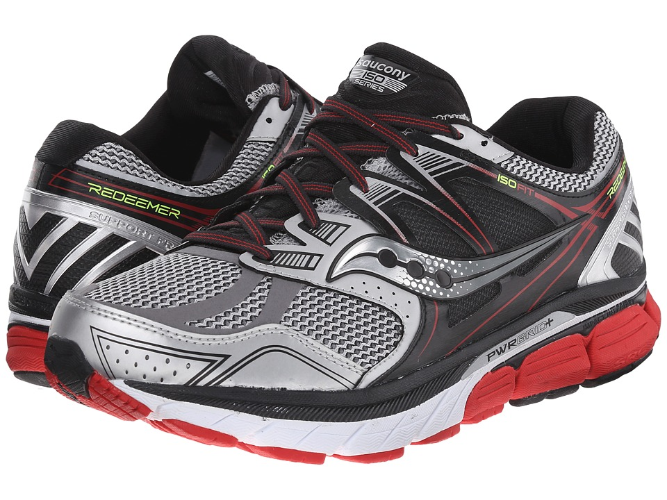 Saucony - Redeemer (Silver/Black/Red) Men's Running Shoes