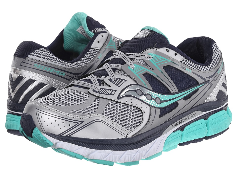 Saucony - Redeemer (Silver/Green/Blue) Women's Running Shoes