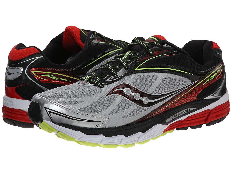 Saucony - Ride 8 (Silver/Red/Citron) Men's Running Shoes
